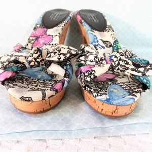 Coach Karen Blue/Purple Butterfly Cork Heel Sandal